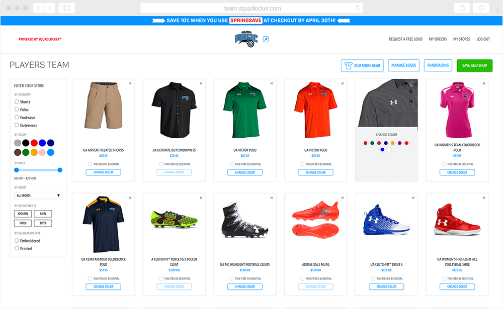 Building your own custom store for team gear